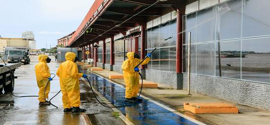 Terminal Hidroviário de Belém passa por desinfecção contra a Covid-19
